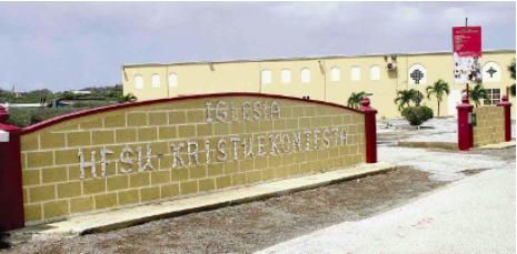 Het gebouw van Iglesia Hesu Kristu e Kontesta, van pastor en APK-voorzitter Gilberto Bakhuis.