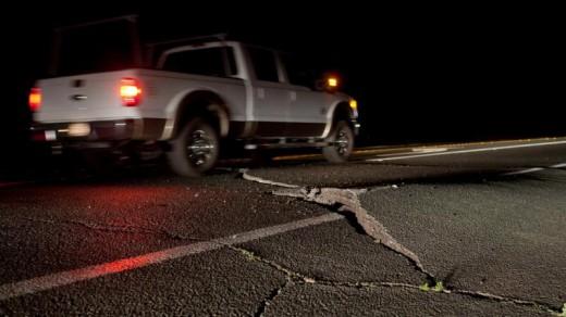 Wegen in San Francisco zijn beschadigd na de aardbeving