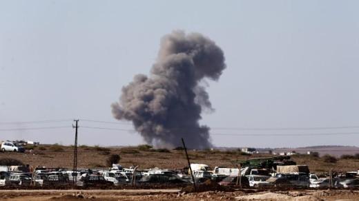 Rookwolken boven kobani eerder deze week | EPA .