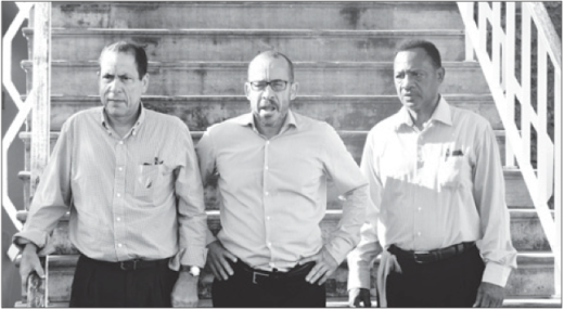 Chester Peterson, Eldon 'Peppie' Sulvaran en Anthony Eustatius | Foto Dick Drayer