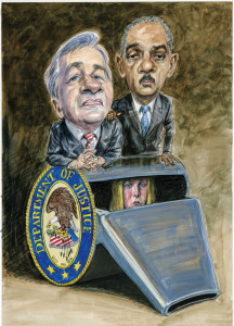 Chase CEO Jamie Dimon and Attorney General Eric Holder | Photo: Illustration by Victor Juhasz
