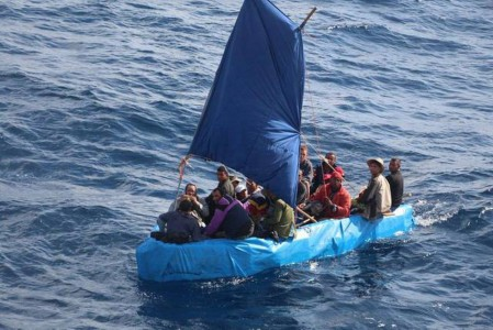 This Jan. 1 photo shows 24 Cuban migrants in the waters south of Key West, Fla. The Cubans were later repatriated