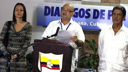Talks between Farc representatives, pictured, and the government have stalled