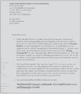 De eerste bladzijde van de acht pagina's tellende aangifte die advocaat Spong namens Corallo heeft gedaan tegen de Knipselkrant Curaçao