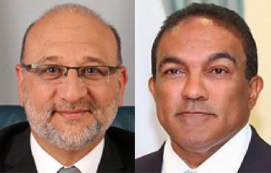 Ministers van Economische Zaken: Nasser El Hakim (Kabinet Schotte) en Stanley Palm (Kabinet Asjes)