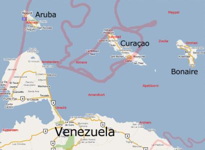 Aruba, Curacao, Bonaire en Venezuela. Met in het rood de contouren en grenzen van Nederland en Nederlandse plaatsnamen op dezelfde schaal