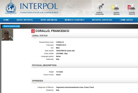 Francesco Corallo on Interpol for organized crime and fraud