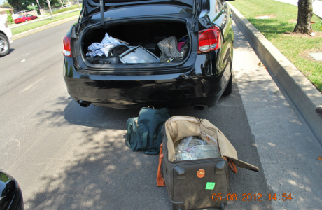 A suitcase stuffed with cash that Mr. Molsbarger carried into a California restaurant in May 2012 as undercover agents watched. He handed the bag to a man who put it in the trunk of a car. Local deputies stopped the car and confiscated the money.