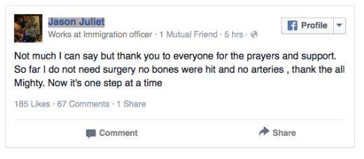 Immigration officer Jason Juliet shot - tweet