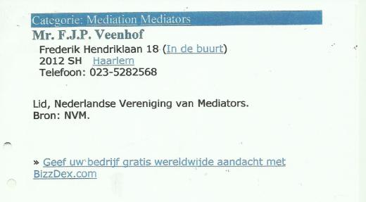 Bij recentelijk op google aanklikken van de naam Veenhof bleek, dat ook de als link 3 vernoemde melding niet meer te vinden was