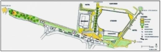 De alternatieve route zal buiten het mangrovenbos om naar de tweede megapier lopen. Op dit kaartje de toekomstige situatie.