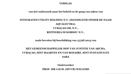 Onderzoek civiele enquete overheids NV's Aqualectra, Curoil en Refineria di Korsou RdK 2016 | Prof mr J.H.M. Willems