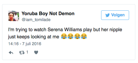 I'm trying to watch Serena Williams play but her nipple just keeps looking at me