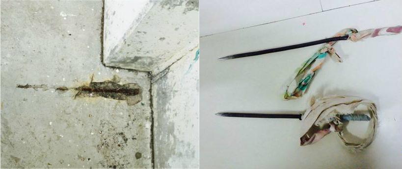 Betonijzer steekt uit de vloeren en muren (l) Klaar om geslepen te worden tot een steekwapen (r) – foto: Natasja Gibbs