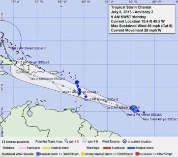 tropische storm Chantal.